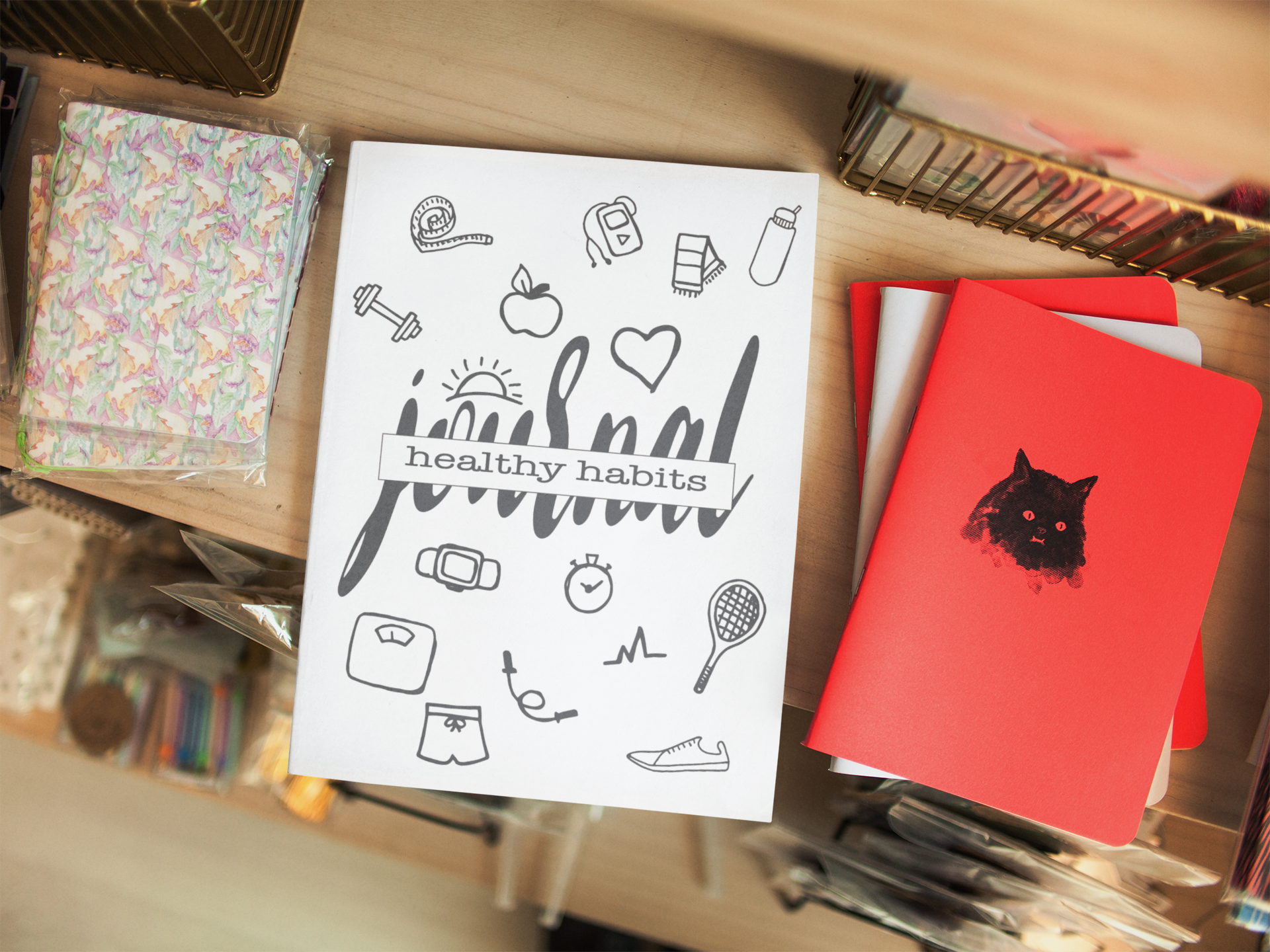 Big Happy Healthy Eating Habits Coloring Journal Mockup