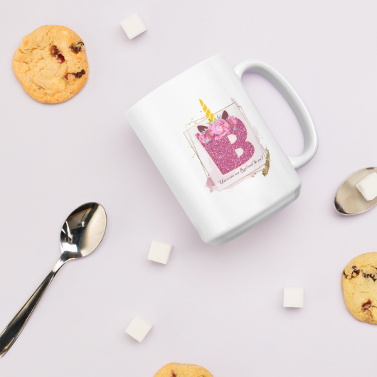 B: Monogram Initial B - Awesome Unicorn Coffee Mug B for Unicorn Believers - Unicorns Are Real and So Am I