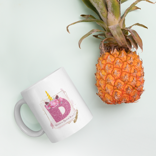 D: Monogram Initial D - Awesome Unicorn Coffee Mug D for Unicorn Believers - Unicorns Are Real and So Am I