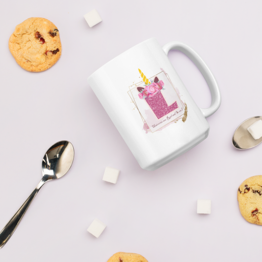 L: Monogram Initial L - Awesome Unicorn Coffee Mug L for Unicorn Believers - Unicorns Are Real and So Am I