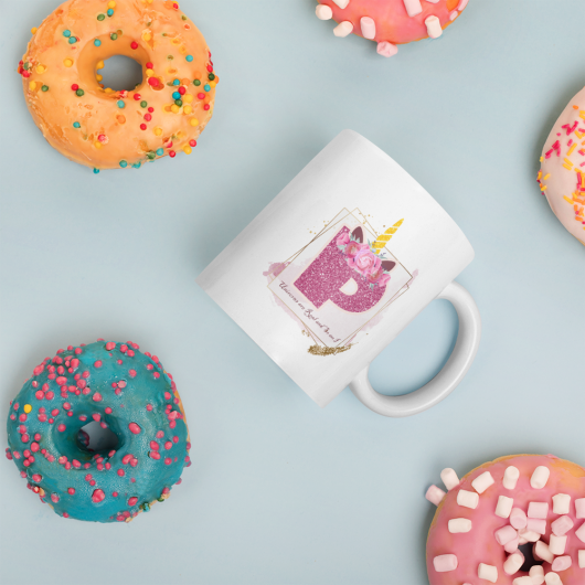 P: Monogram Initial P - Awesome Unicorn Coffee Mug P for Unicorn Believers - Unicorns Are Real and So Am I