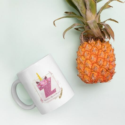 Z: Monogram Initial Z - Awesome Unicorn Coffee Mug Z for Unicorn Believers - Unicorns Are Real and So Am I