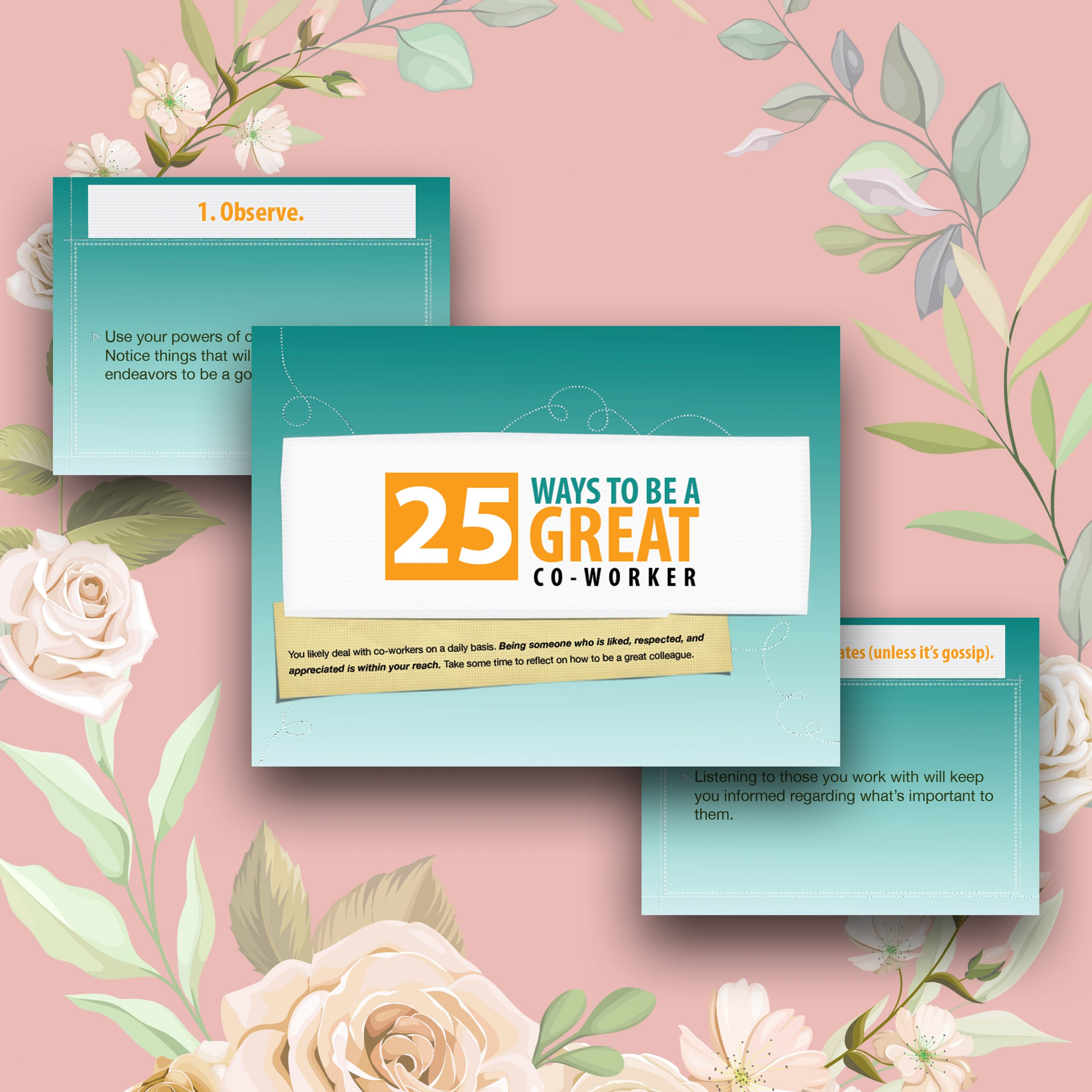 Top 25 Tips To Be A Great Co-Worker Printable Tips