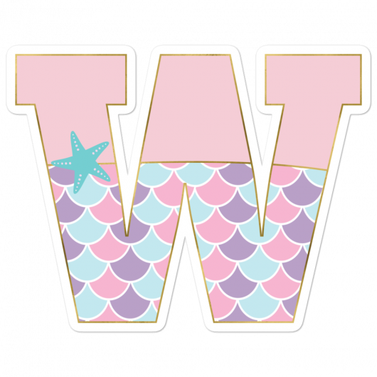 W: Monogram Initial W – Awesome Mermaid Bubble-Free Planner, Journal and Laptop Stickers for Mermaid Believers