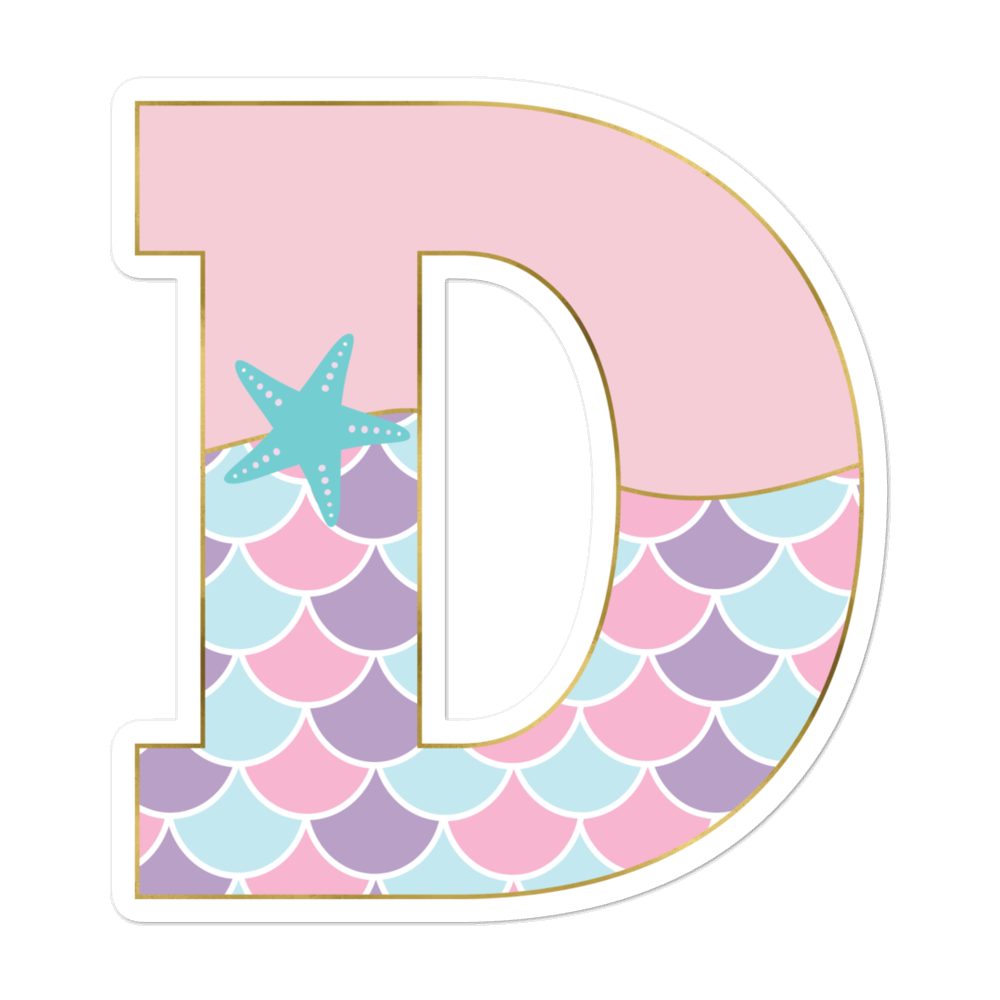 D: Monogram Initial D – Awesome Mermaid Bubble-Free Planner, Journal and Laptop Stickers for Mermaid Believers
