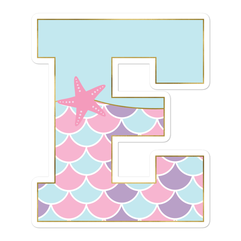 E: Monogram Initial E – Awesome Mermaid Bubble-Free Planner, Journal and Laptop Stickers for Mermaid Believers