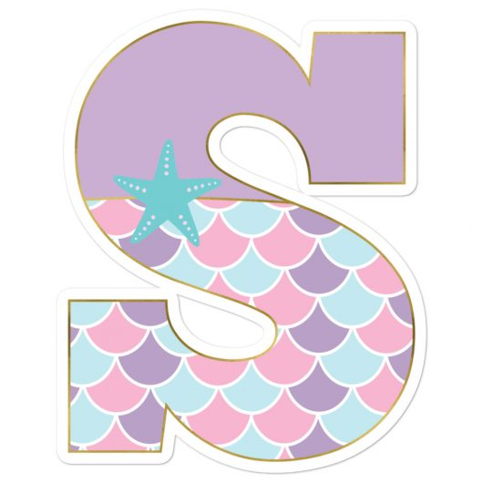 S: Monogram Initial S – Awesome Mermaid Bubble-Free Planner, Journal and Laptop Stickers for Mermaid Believers