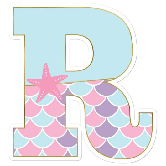 R: Monogram Initial R – Awesome Mermaid Bubble-Free Planner, Journal and Laptop Stickers for Mermaid Believers