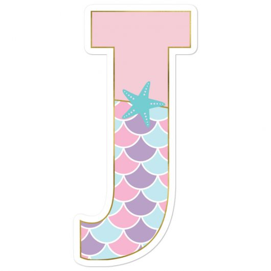 J: Monogram Initial J – Awesome Mermaid Bubble-Free Planner, Journal and Laptop Stickers for Mermaid Believers