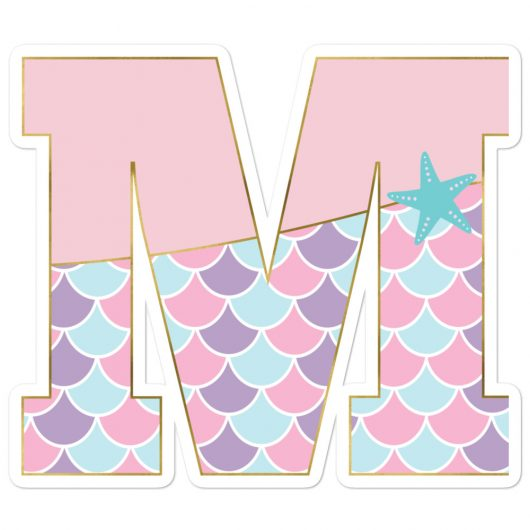 M: Monogram Initial M – Awesome Mermaid Bubble-Free Planner, Journal and Laptop Stickers for Mermaid Believers