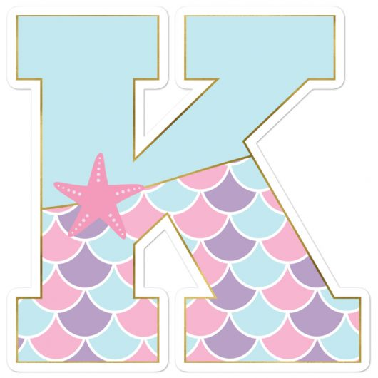 K: Monogram Initial K – Awesome Mermaid Bubble-Free Planner, Journal and Laptop Stickers for Mermaid Believers