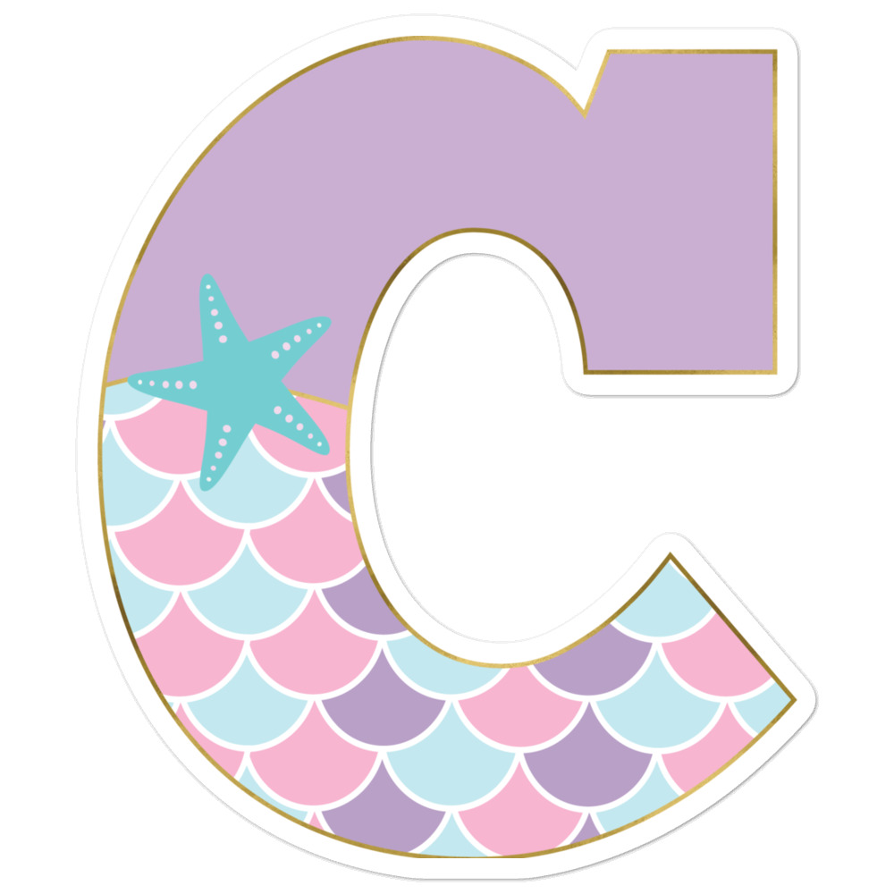 C: Monogram Initial C – Awesome Mermaid Bubble-Free Planner, Journal and Laptop Stickers for Mermaid Believers