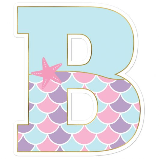 B: Monogram Initial B – Awesome Mermaid Bubble-Free Planner, Journal and Laptop Stickers for Mermaid Believers