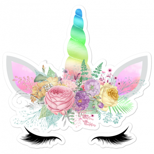 Spring Flowers Rainbow Horn Reflective Unicorn Princess Face Bubble-Free Planner, Journal and Laptop Stickers