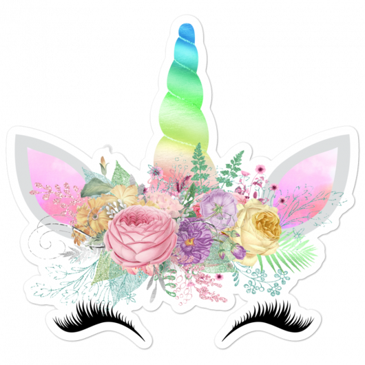 Spring Flowers Rainbow Horn Happy Unicorn Princess Face Bubble-Free Planner, Journal and Laptop Stickers