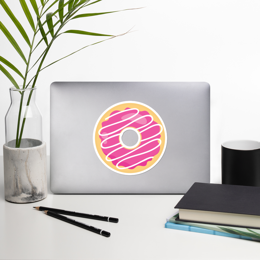I Love Pink Donuts I Love Cafes Series Bubble-Free Planner, Journal and Laptop Stickers