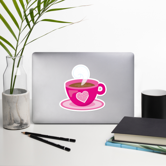 I Love Coffee In A Pretty Pink Cup I Love Cafes Series Bubble-Free Planner, Journal and Laptop Stickers