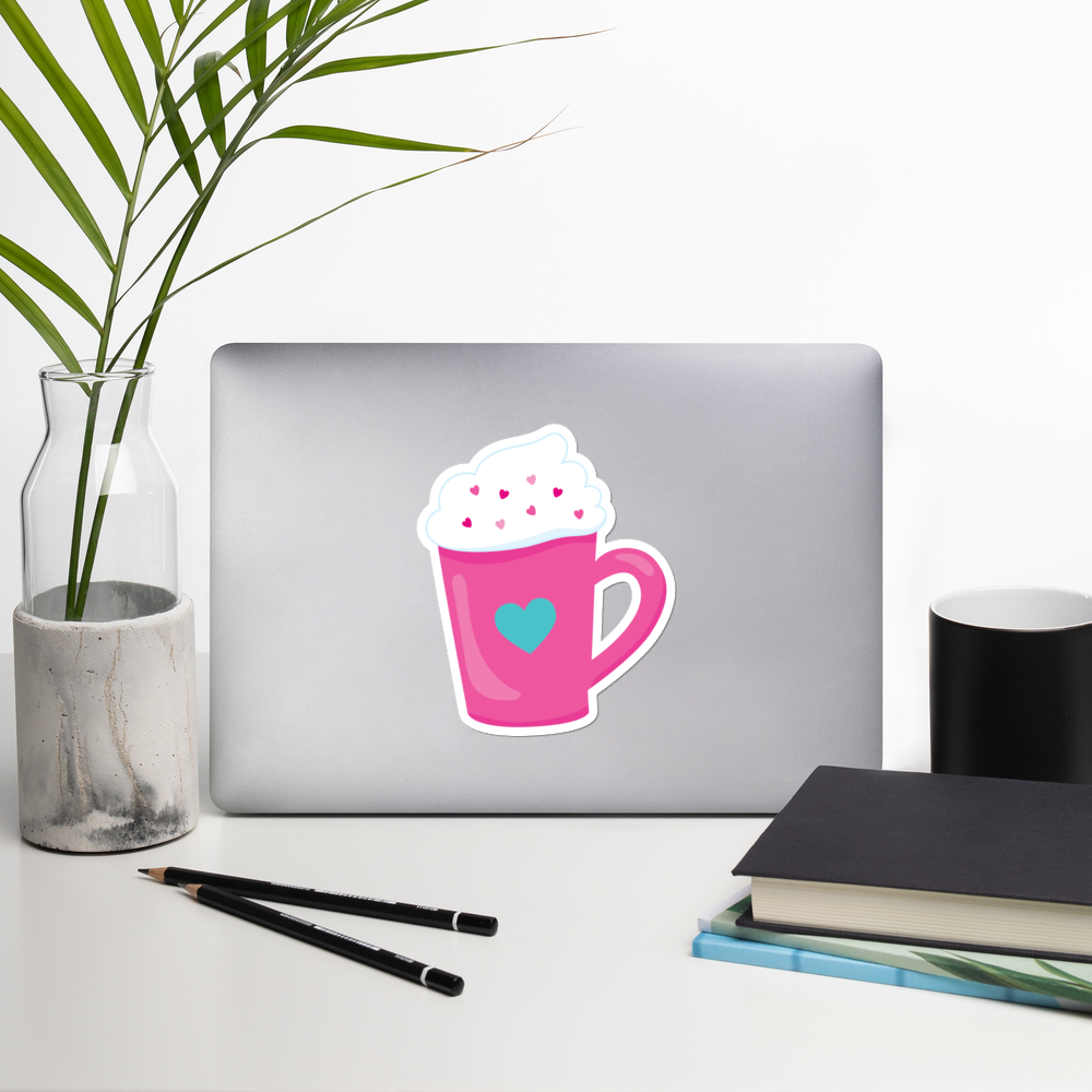 I Love Coffee With A Lot Of Whipped Cream I Love Cafes Series Bubble-Free Planner, Journal and Laptop Stickers