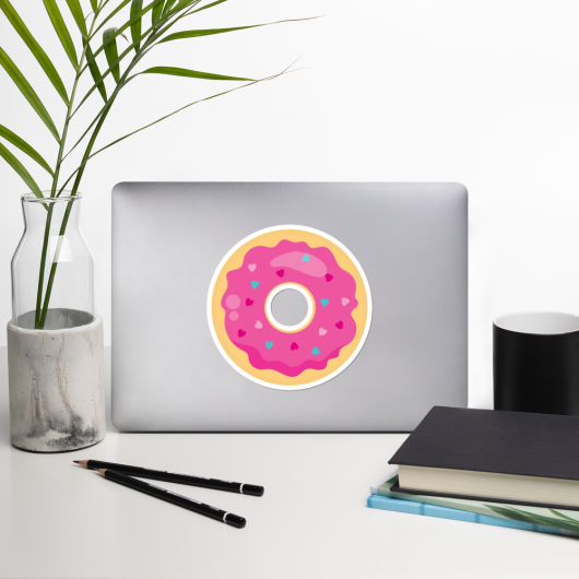 I Love Donuts With Pretty Sprinkles I Love Cafes Series Bubble-Free Planner, Journal and Laptop Stickers