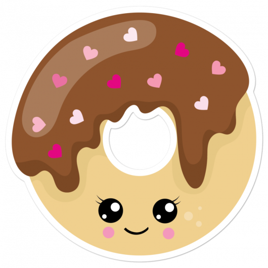 I Love Chocolate Donuts With Pretty Heart Sprinkles And Cute Eyes I Love Sweets Series Bubble-Free Planner, Journal and Laptop Stickers