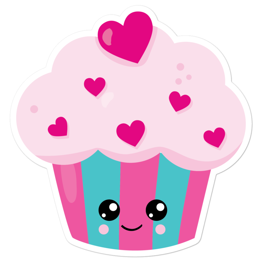 I Love Pretty Pink Cupcakes with So Many Hearts And Bambi Eyes I Love Sweets Series Bubble-Free Planner, Journal and Laptop Stickers