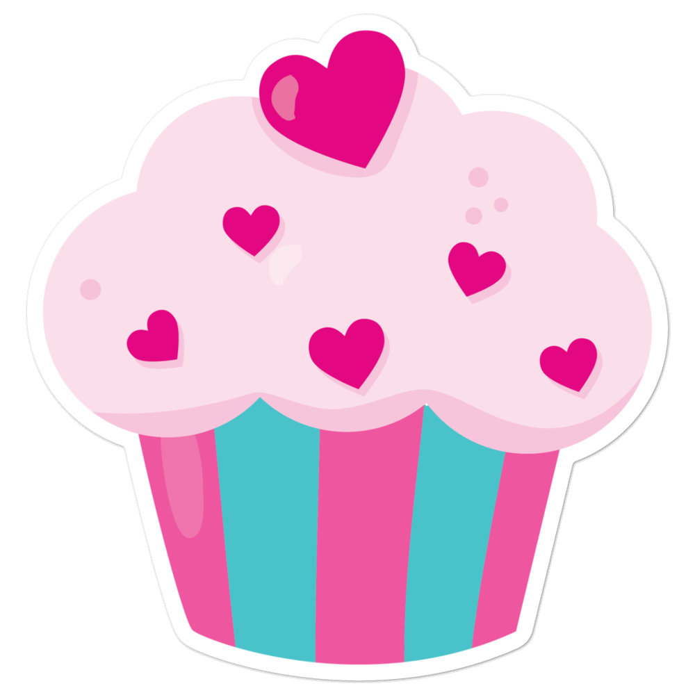 I Love Pretty Pink Cupcakes with So Many Hearts I Love Sweets Series Bubble-Free Planner, Journal and Laptop Stickers