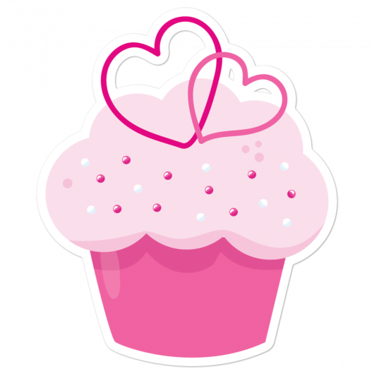 I Love Pretty Pink Cupcakes With Yummy Hearts I Love Sweets Series Bubble-Free Planner, Journal and Laptop Stickers
