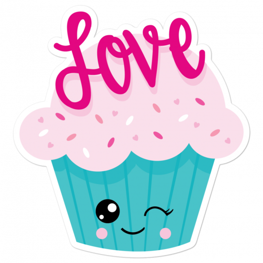 I Love Pretty Pink Cupcakes With Yummy Sprinkles And Bambi Eyes I Love Sweets Series Bubble-Free Planner, Journal and Laptop Stickers