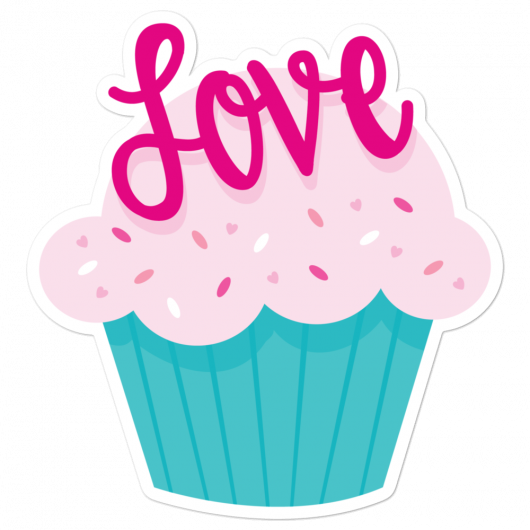 I Love Pretty Pink Cupcakes With Yummy Sprinkles I Love Sweets Series Bubble-Free Planner, Journal and Laptop Stickers