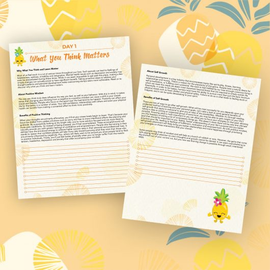 Pineapple Journal Pages - 30 Positivity And Self-Growth Lessons For Girl Power Halo of Happiness - Day 1 Printable Journal Pages - Why What You Think and Learn Matter - Members Only