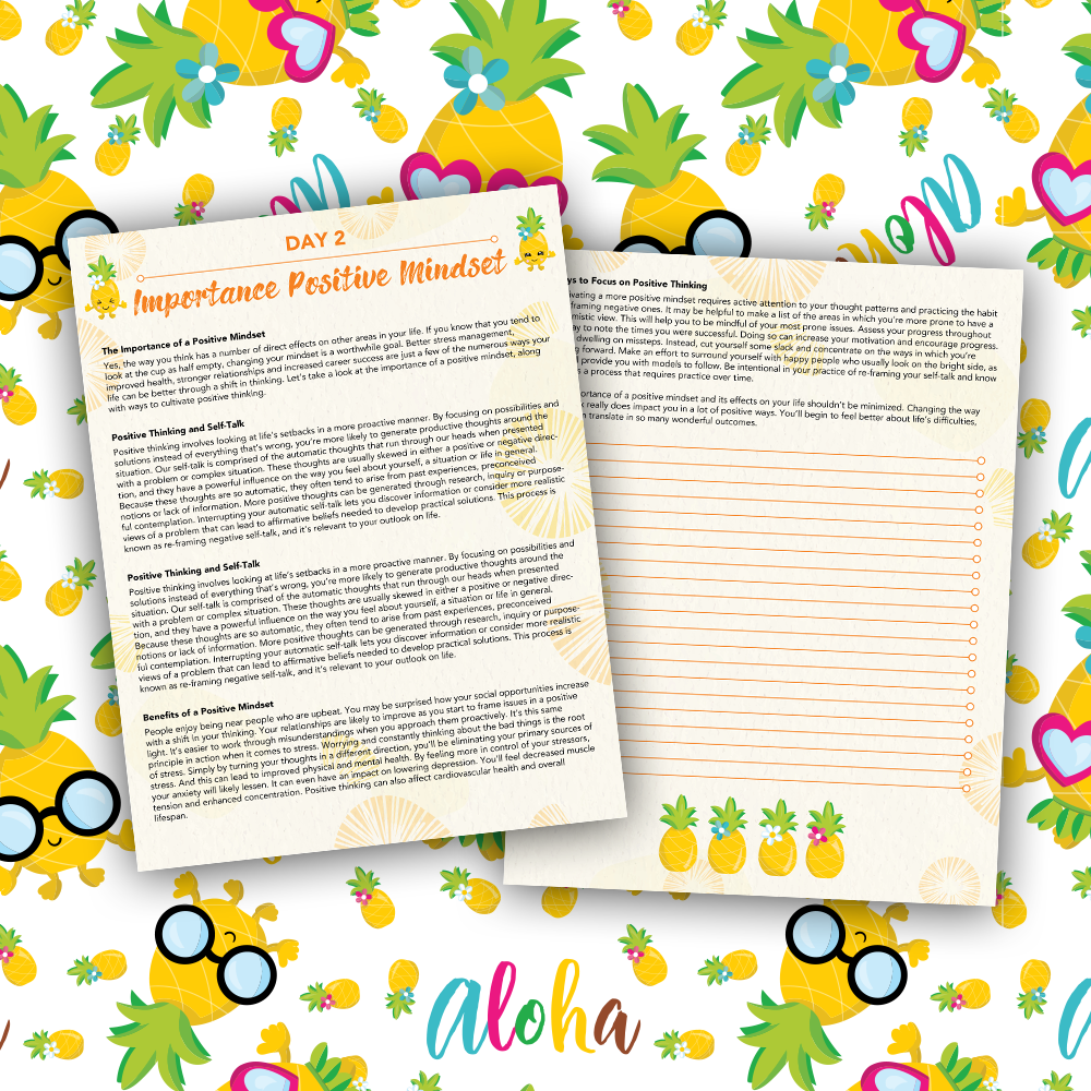 Pineapple Journal Pages - 30 Positivity And Self-Growth Lessons For Girl Power Halo of Happiness – Day 2 Printable Journal Pages - The Importance of a Positive Mindset - Members Only