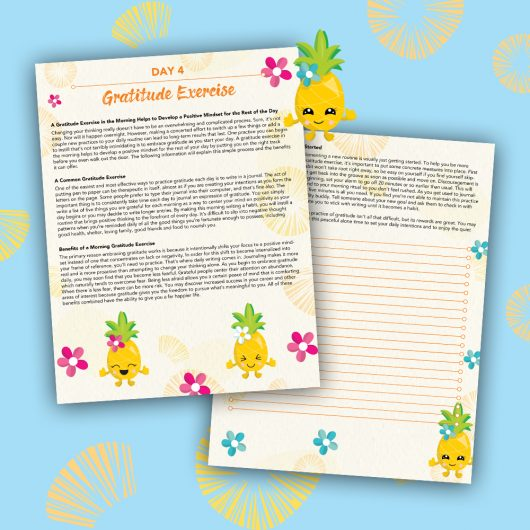 Pineapple Journal Pages - 30 Positivity And Self-Growth Lessons For Girl Power Halo of Happiness – Day 4 Printable Journal Pages - A Gratitude Exercise in the Morning Helps to Develop a Positive Mindset for the Rest of the Day - Members Only