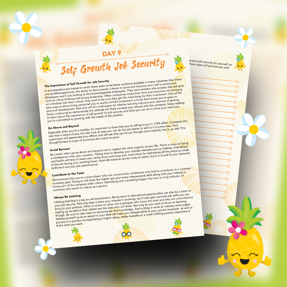 Pineapple Journal Pages - 30 Positivity And Self-Growth Lessons For Girl Power Halo of Happiness – Day 9 Printable Journal Pages - The Importance of Self Growth - Members Only