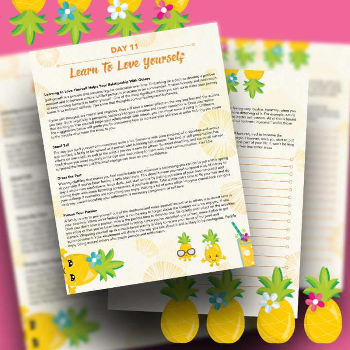 30 Positivity And Self-Growth Lessons For Girl Power Halo of Happiness – Day 11 Printable Journal Pages - Learning to Love Yourself Helps Your Relationship With Others