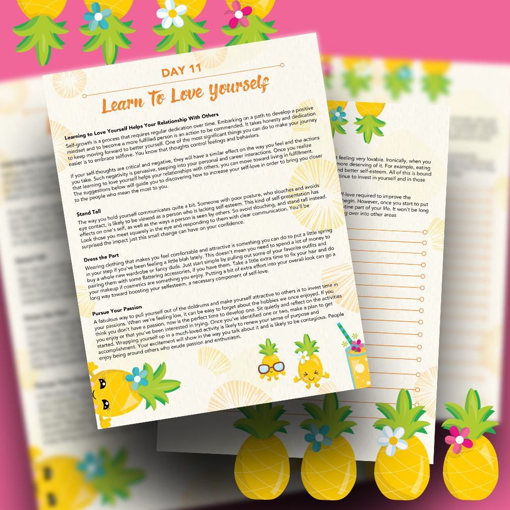 Pineapple Journal Pages - 30 Positivity And Self-Growth Lessons For Girl Power Halo of Happiness – Day 11 Printable Journal Pages - Learning to Love Yourself Helps Your Relationship With Others - Members Only