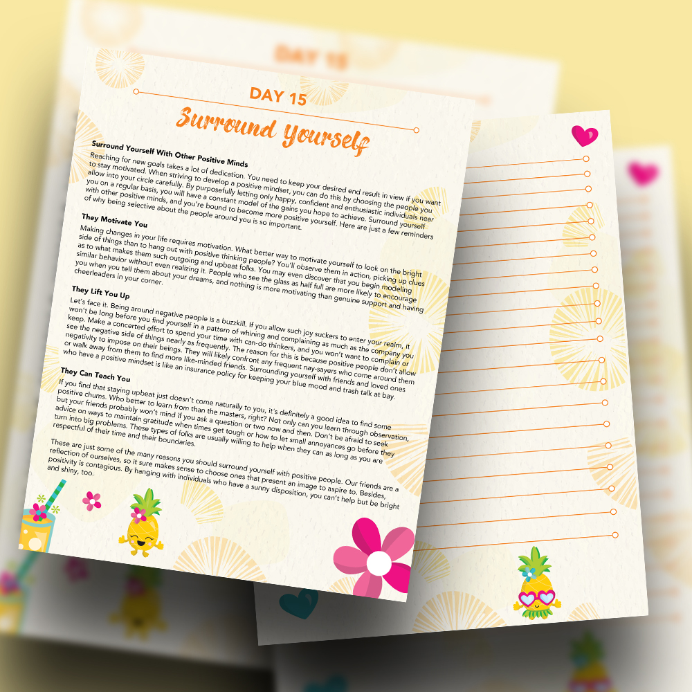 Pineapple Journal Pages - 30 Positivity And Self-Growth Lessons For Girl Power Halo of Happiness – Day 15 Printable Journal Pages - Surround Yourself With Other Positive Girls - Members Only