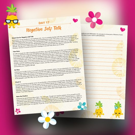 Pineapple Journal Pages - 30 Positivity And Self-Growth Lessons For Girl Power Halo of Happiness – Day 17 Printable Journal Pages - Watch Out for Negative Self Talk - Members Only