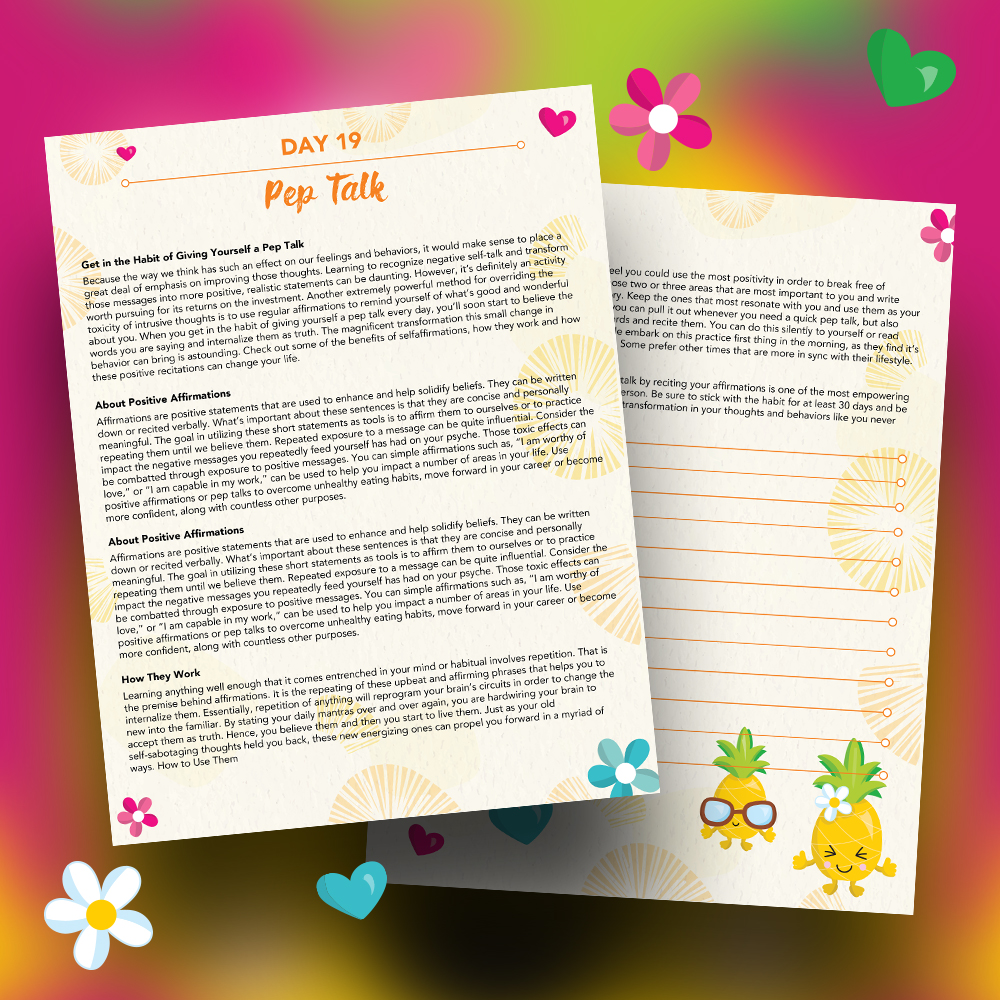 Pineapple Journal Pages - 30 Positivity And Self-Growth Lessons For Girl Power Halo of Happiness – Day 19 Printable Journal Pages - Get in the Habit of Giving Yourself a Pep Talk - Members Only