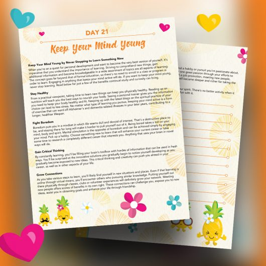 Pineapple Journal Pages - 30 Positivity And Self-Growth Lessons For Girl Power Halo of Happiness – Day 21 Printable Journal Pages - Keep Your Mind Young by Never Stopping to Learn Something New - Members Only