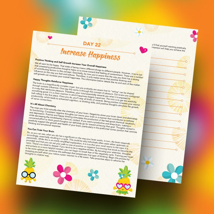 30 Positivity And Self-Growth Lessons For Girl Power Halo of Happiness – Day 22 Printable Journal Pages - Positive Thinking and Self Growth Increase Your Overall Happiness