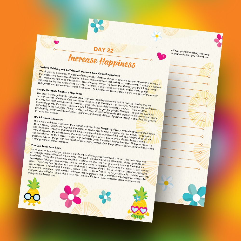 Pineapple Journal Pages - 30 Positivity And Self-Growth Lessons For Girl Power Halo of Happiness – Day 22 Printable Journal Pages - Positive Thinking and Self Growth Increase Your Overall Happiness - Members Only
