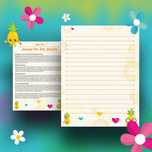 Pineapple Journal Pages - 30 Positivity And Self-Growth Lessons For Girl Power Halo of Happiness – Day 23 Printable Journal Pages - Journaling as a Tool for Self Growth and Positive Thinking - Members Only