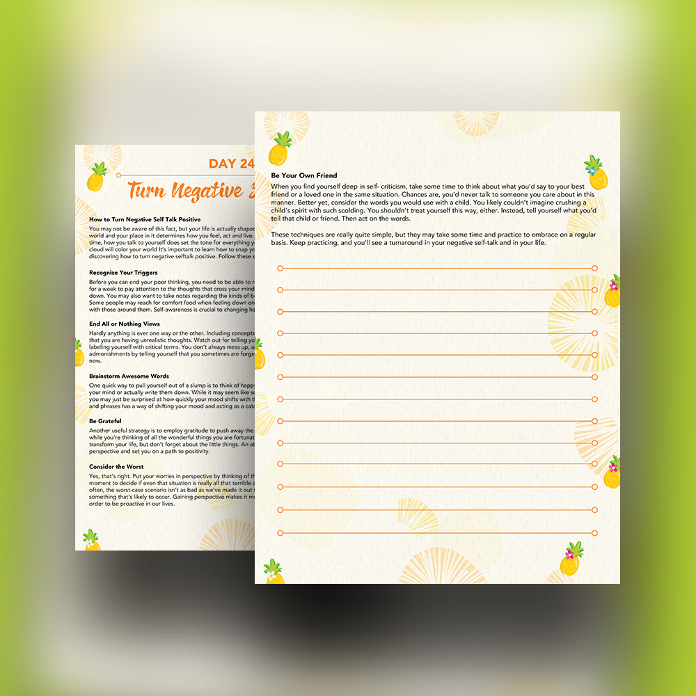 Pineapple Journal Pages - 30 Positivity And Self-Growth Lessons For Girl Power Halo of Happiness – Day 24 Printable Journal Pages - How to Turn Negative Self Talk Positive - Members Only