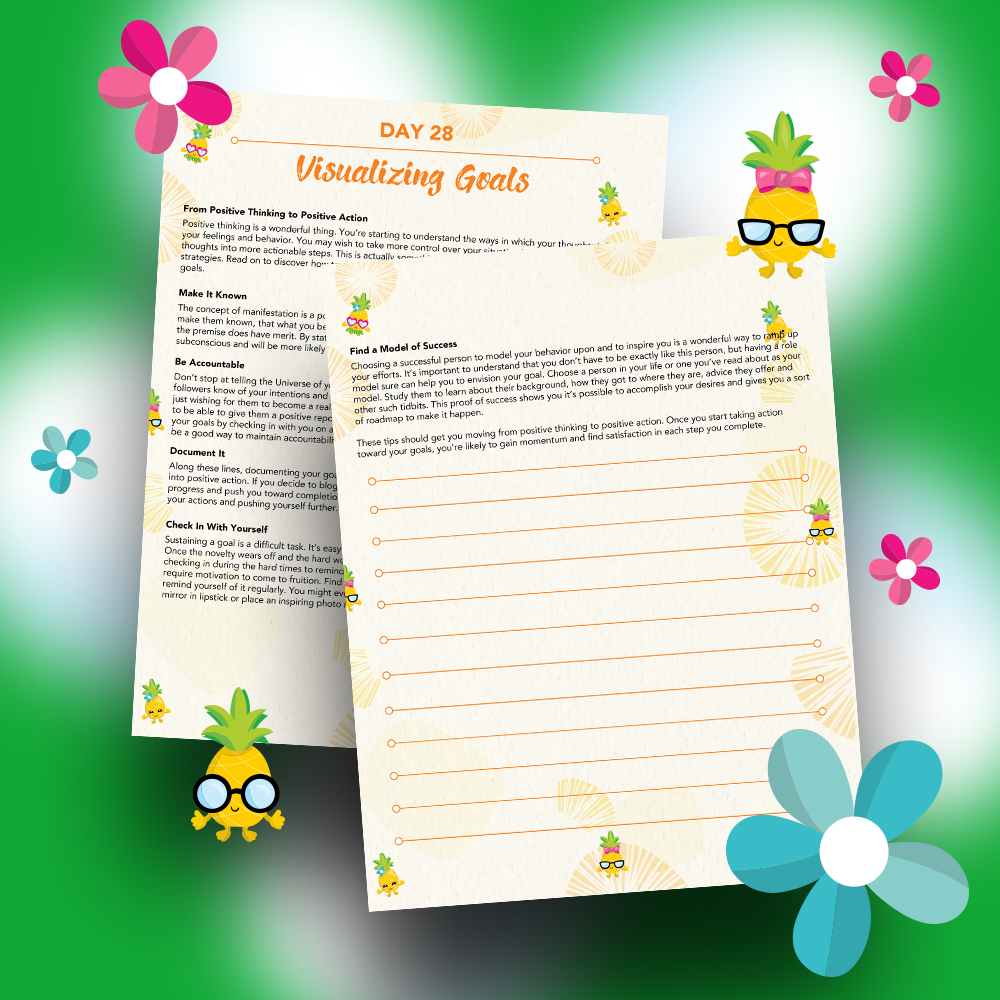 Pineapple Journal Pages - 30 Positivity And Self-Growth Lessons For Girl Power Halo of Happiness – Day 28 Printable Journal Pages - From Positive Thinking to Positive Action - Members Only