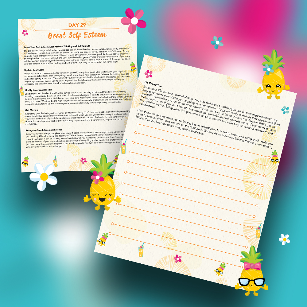 Pineapple Journal Pages - 30 Positivity And Self-Growth Lessons For Girl Power Halo of Happiness – Day 29 Printable Journal Pages - Boost Your Self-Esteem with Positive Thinking and Self Growth - Members Only