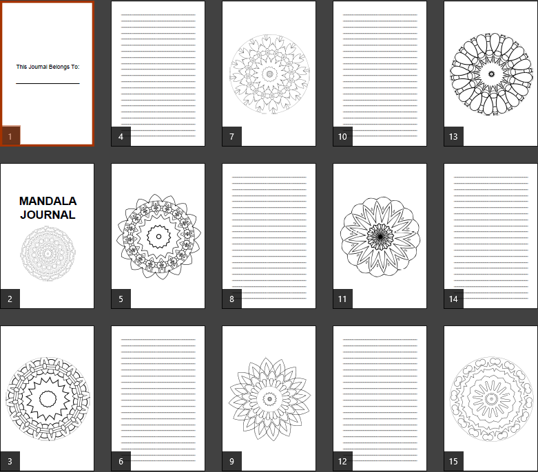 Super Mandala Coloring Journal Notebook Pages