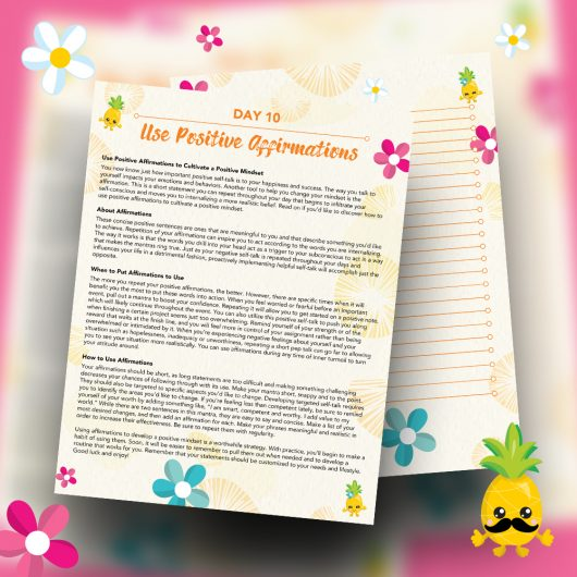Pineapple Journal Pages - 30 Positivity And Self-Growth Lessons For Girl Power Halo of Happiness – Day 10 Printable Journal Pages - Use Positive Affirmations to Cultivate a Positive Mindset - Members Only