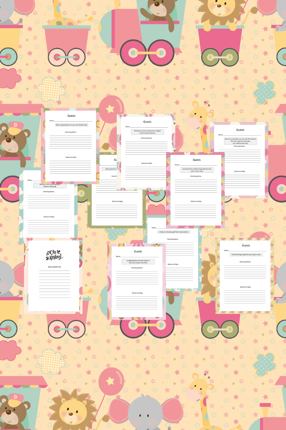 Baby Girl Guest Journal Printable Pages For Baby Showers Mockup 1
