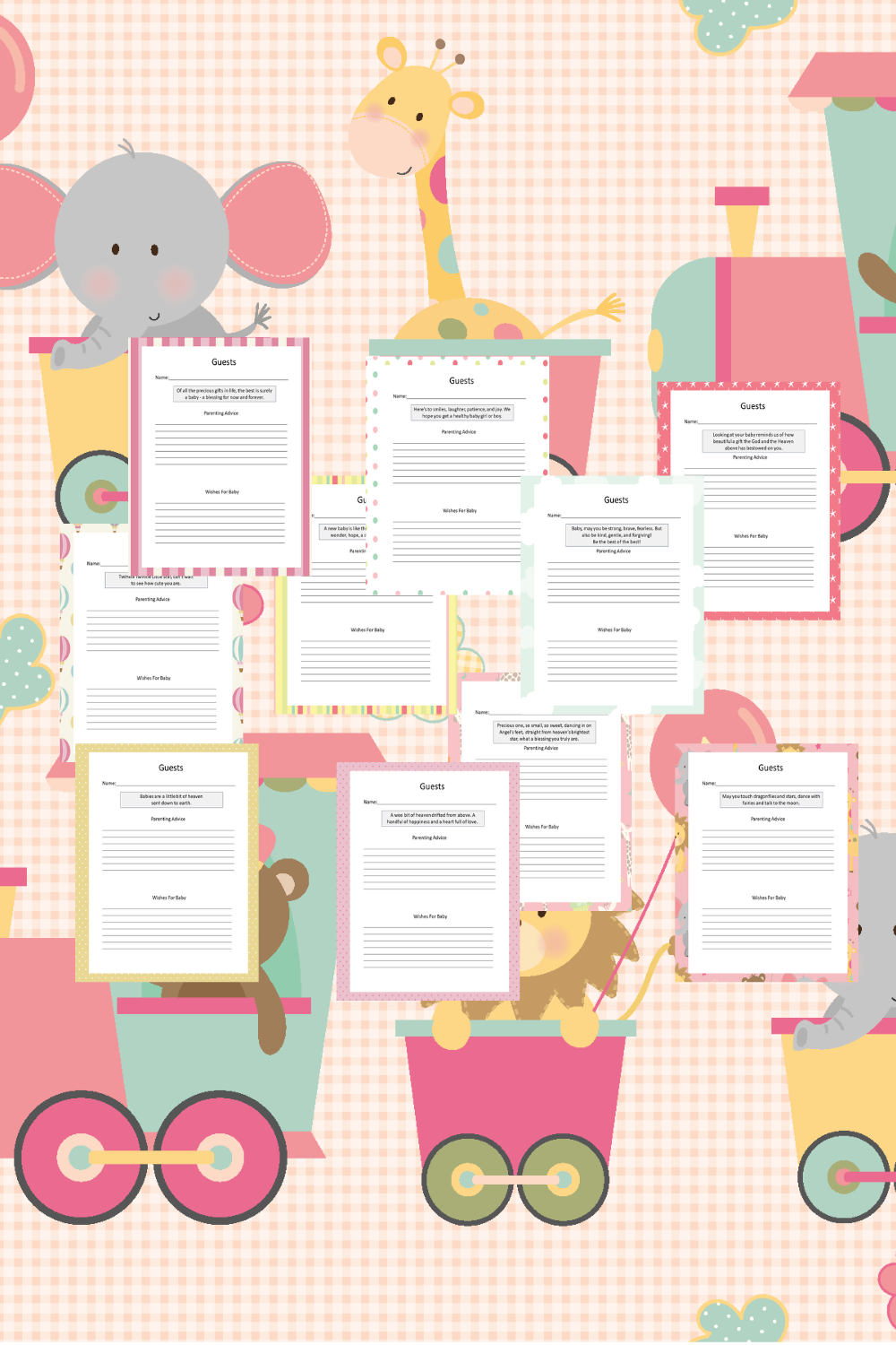 Baby Girl Guest Journal Printable Pages For Baby Showers Mockup 2
