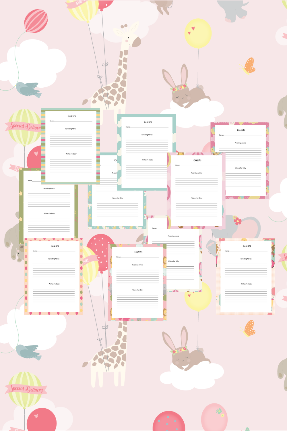 Baby Girl Guest Journal Printable Pages For Baby Showers Mockup 4